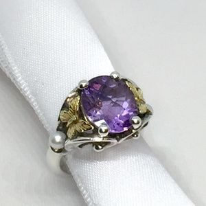 Ann King Sterling Silver & 18k Amethyst Ring